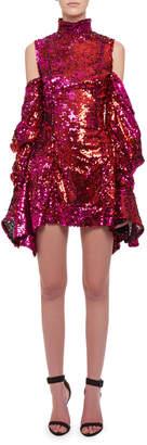 Halpern Turtleneck Cold-Shoulder Draped-Sleeve Sequin Cocktail Dress