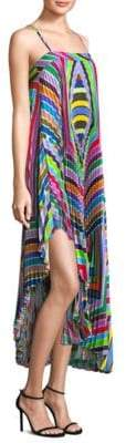 Milly Irene Pleated Asymmetric Maxi Dress