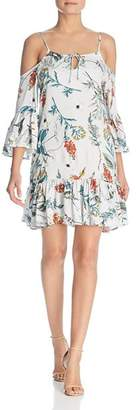 Elan International Botanical-Print Cold-Shoulder Dress