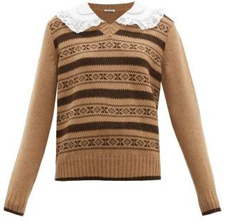 Miu Miu Contrast Collar Fair Isle Camel Hair Sweater - Womens - Brown Multi