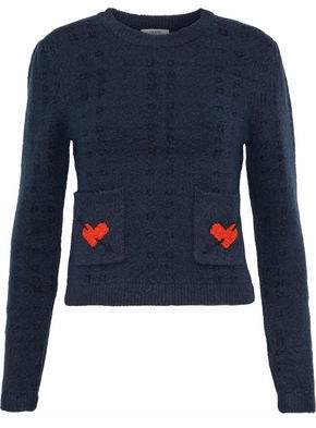 Ganni Jacquard-Knit Wool-Blend Sweater