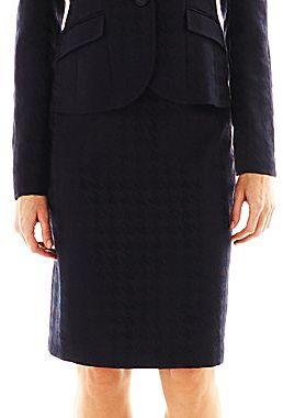Le Suit 2-Button Houndstooth Skirt Suit