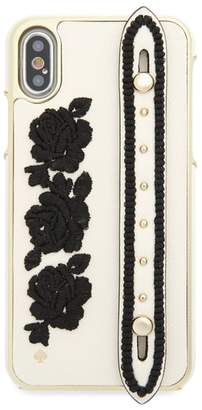 Kate Spade embroidered iPhone X case with strap