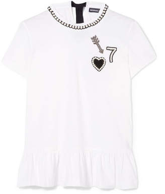 Markus Lupfer Heart Arrow No7 Appliquéd Embellished Stretch-cotton Jersey T-shirt - White