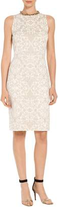 St. John Gold Leaf Brocade Knit Sheath Dress