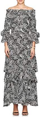 Faith Connexion Women's Zebra-Print Crepe Maxi Dress