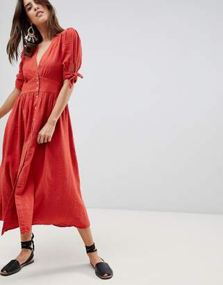 Free People Love Of My Life Button Through Midi Dress