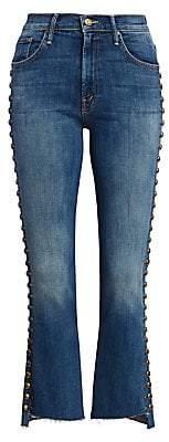 Mother Women's Insider Studded Step-Hem Cropped Jeans