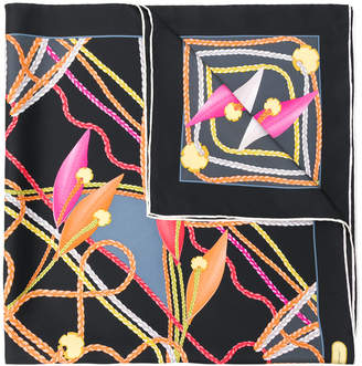 Salvatore Ferragamo braided trim print scarf
