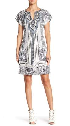 Hale Bob Short Sleeve Split Neck Dress