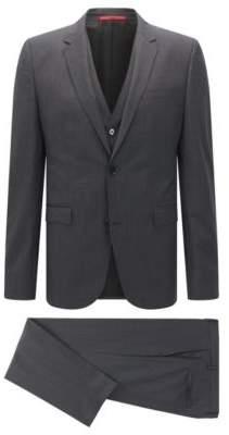HUGO Boss Checked Italian Wool 3-Piece Suit, Slim Fit Adwart/Wilard/Hets 42S Black