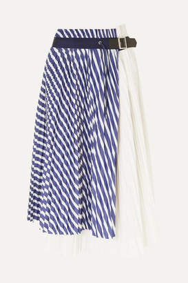 Sacai Pleated Striped Cotton-poplin Wrap Skirt - Blue