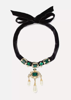 Dolce & Gabbana Velvet, Gold-tone, Crystal And Faux Pearl Choker - Black