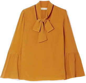 MICHAEL Michael Kors Pussy-bow Silk Crepe De Chine Blouse - Saffron