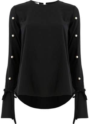 Oscar de la Renta sleeve appliqué blouse