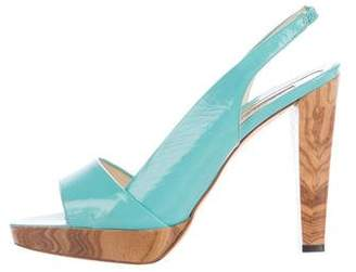 Brian Atwood Patent Leather Slingback Sandals