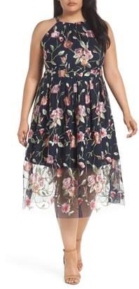 Vince Camuto Floral Embroidered Mesh Midi Halter Dress