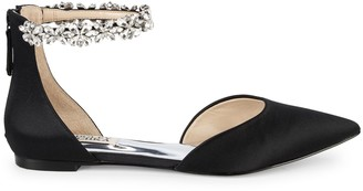 Badgley Mischka Edge Embellished Satin d'Orsay Flats