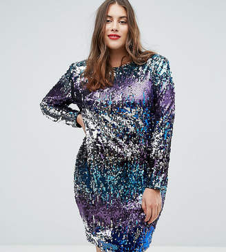 TFNC Plus Long Sleeve Sequin Mini Dress In Multi Sequin With Shoulder Pads