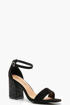 boohoo NEW Womens Wide Fit Glitter Block Heel Two Parts in