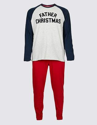 Marks and Spencer Mens Father Christmas Slogan Pyjama Set