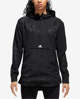 adidas Floral-Print Half-Zip Hooded Jacket