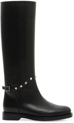 Valentino 20mm Rockstud Leather Riding Boots