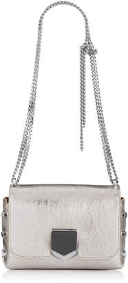 Jimmy Choo LOCKETT PETITE Vintage Silver Etched Metallic Spazzolato Leather Shoulder Bag