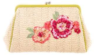 Christian Dior Embroidered Straw Clutch