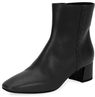 Bottega Veneta Intrecciato-Trim Leather Ankle Boot
