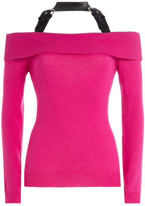 Moschino Off-the-Shoulder Wool Top with Halter Neckline