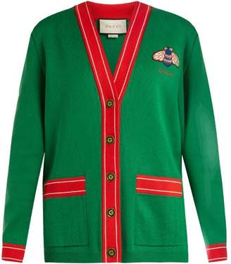 Gucci Bee Embroidered Cotton And Cashmere Blend Cardigan - Womens - Green