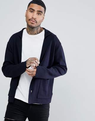 Asos Knitted Blazer In Navy