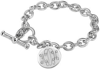 JCPenney FINE JEWELRY Personalized Sterling Silver Round Monogram Charm Bracelet