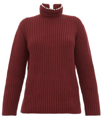 Loewe Faux Pearl Neck Ribbed Cashmere Sweater - Womens - Burgundy