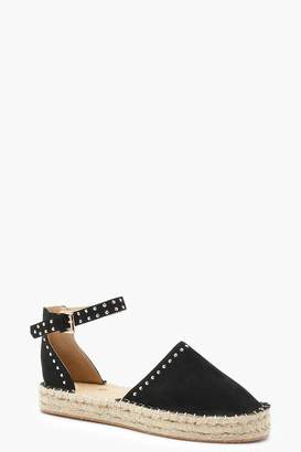 boohoo Evelyn Studded Ankle Band Espadrilles