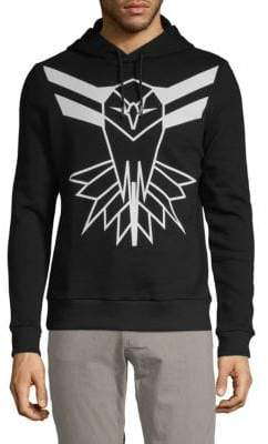 Roberto Cavalli Graphic Hooded Cotton Sweater