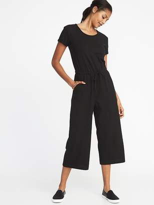 Old Navy Waist-Defined Wide-Leg Bouclé-Jersey Jumpsuit for Women