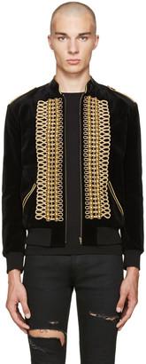 Saint Laurent Black Velvet Military Teddy Bomber Jacket $3,990 thestylecure.com