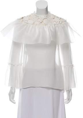 Giambattista Valli Silk Sheer Long-Sleeve Blouse w/ Tags