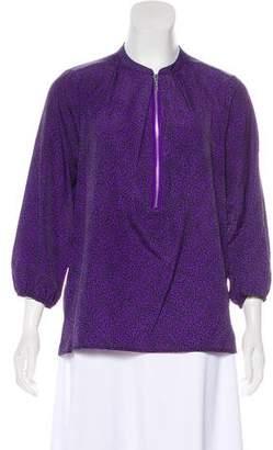 MICHAEL Michael Kors Printed Zip-Up Blouse