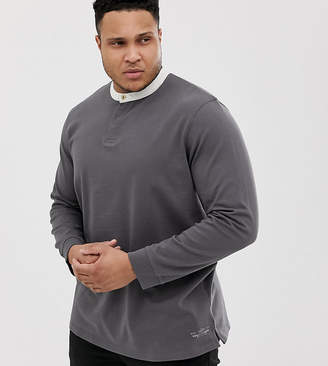 Jack and Jones Plus Size Long Sleeve Top with Grandad Collar