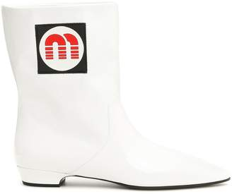 Miu Miu Booties With Logo Patch