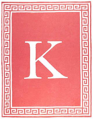 One Kings Lane Greek Key Monogram Cotton Throw - Coral