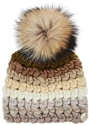 Mischa Lampert Women's Deep Striped Wool Beanie - Green