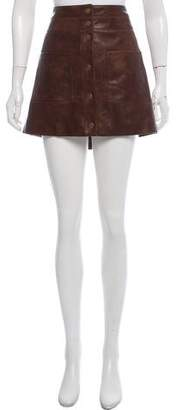 Veronica Beard Leather Mini Skirt
