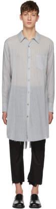 Sulvam Grey and White Striped Long Overshirt