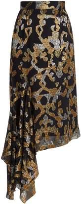 Peter Pilotto Asymmetric fil coupé silk-blend midi skirt
