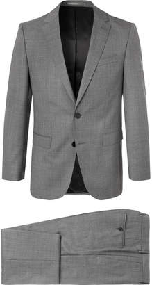 HUGO BOSS Grey Novan/Ben Slim-Fit Mélange Super 120s Virgin Wool Suit