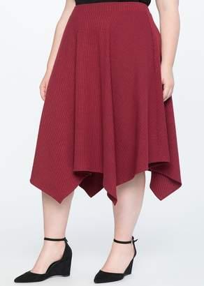 ELOQUII Handkerchief Hem Ribbed Knit Midi Skirt (Plus Size)